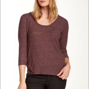 James Perse Tops - James Perse Curved Hem Baseball Pullover Top E